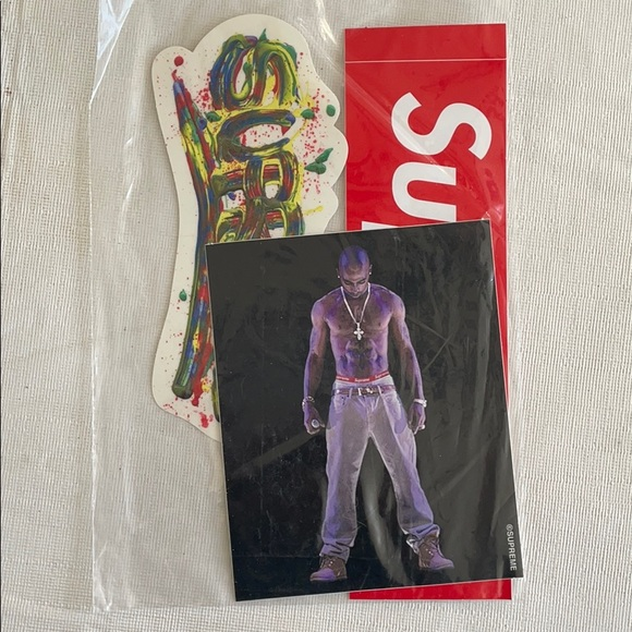 Supreme Tupac, Finger-paint, and box logo stickers